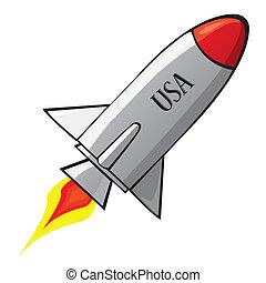 vector, retro, nave del cohete, espacio, en, el, sky.