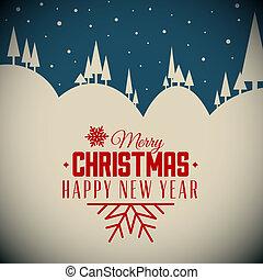Vector retro night snowy Christmas card