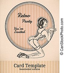 Vector retro pin-up woman illustration