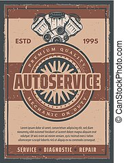 Vector retro poster for car auto service