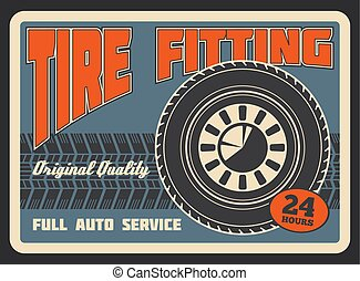 Vector retro poster for car tire fitting