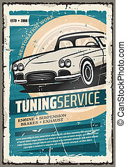 Vector retro poster for car tuning auto service