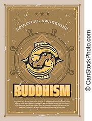 Vector retro poster of Buddhism carp fishes - Buddhism...