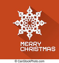 Vector Retro Red Merry Christmas Illustration with Paper Snowflake