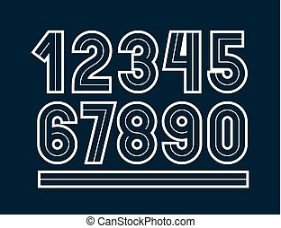 Vector retro regular numbers collection for use in logo design