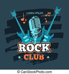 Vector retro rock guitar and microphone music club vector logo