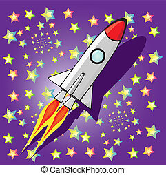 vector retro rocket ship space in the sky.