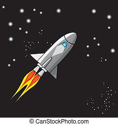 vector retro rocket ship space in the sky.