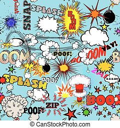 Vector Retro Seamless Pattern with Comic Speech Bubbles,...