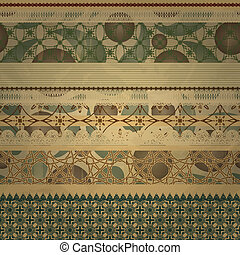 vector  retro seamless  patterns on abstract seamless background on old paper texture