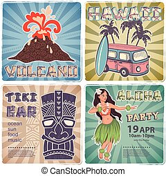 Retro set of banners with  Hawaiian symbols