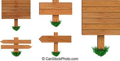 Vector Retro Signboards Collection on White Background, Wood Arrow Sign Collection with Green Grass.