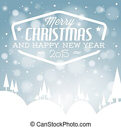 Vector retro snowy Christmas card
