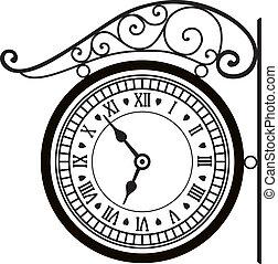 vector, retro, straat, klok