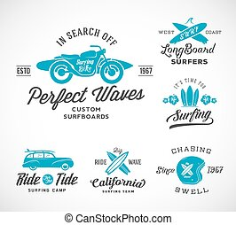 Vector Retro Style Surfing Labels, Logo Templates or T-shirt Graphic Design Featuring Surfboards, Surf Woodie Car, Motorcycle Silhouette, Helmet and Flowers. Good for Posters, Cards, etc. With Shabby Textures.