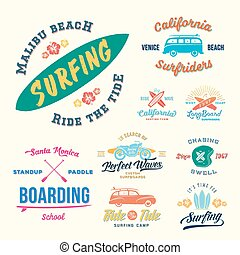 Vector Retro Style Surfing Labels, Logos or T-shirt Graphic Design Featuring Surfboards, Surf Woodie Car, Motorcycle Silhouette, Helmet and Flowers. Good for Posters etc.