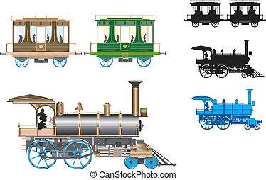 vector, retro, trein