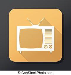 Vector retro TV icon with long shadow