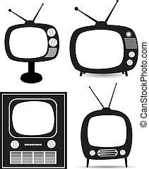 vector retro tv set