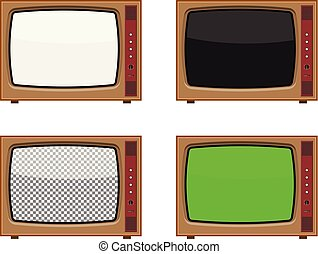 Vector retro tv set with different screen: white, black, transparent and green. Isolated on white background.