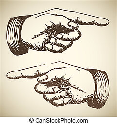 Vector retro Vintage pointing hand drawing