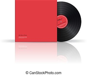 Vector retro vinyl disk with cover.