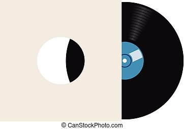 vector retro vinyl record in paper sleeve cover
