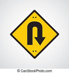 return symbol yellow road sign