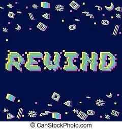 Vector rewind pixel glitch - Vector rewind phrase in pixel...