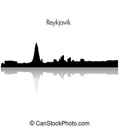 Vector Reykjavik skyline silhouette.