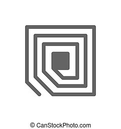 RFID tag chip line icon.
