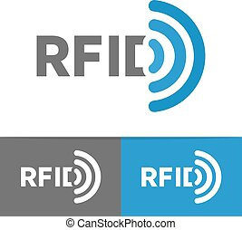 Vector RFID tag icon or logo. Radio-frequency identification symbol