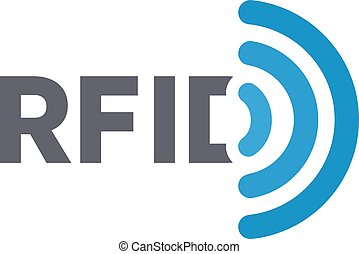 Vector RFID tag logo. Radio-frequency identification symbol...