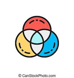 Vector RGB color, swatch palette flat color line icon.