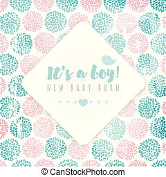 Vector rhombus frame on background, made of circle flowers. Pink and blue colors. New baby born.