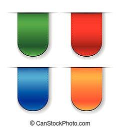 Vector Ribbon set - red, blue, green, orange