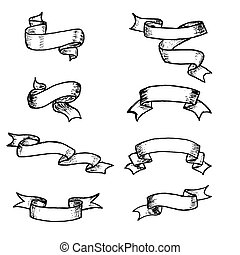 Vector ribbons and banners, chalk doodles. Hand drawn element vintage ribbon banners. Hand-drawn banners set.