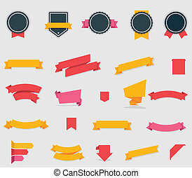 Vector ribbons and labels - Set of the flat ribbons and...
