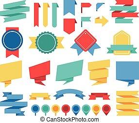 Vector ribbons and labels flat set