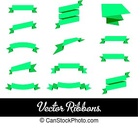 Vector Ribbons Set Collection with blue identic onjects for...