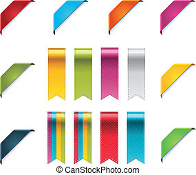 Set of corner ribbons and pennons in different colors