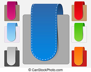 Vector ribbons, transparent shadow - Vector set of colorful...