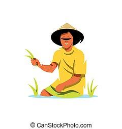 Vector Rice Field Man Cartoon Illustration.