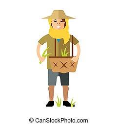 Vector Rice Field Woman. Flat style colorful Cartoon illustration.