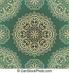 vector, rich, seamless background with symmetrical mandalas