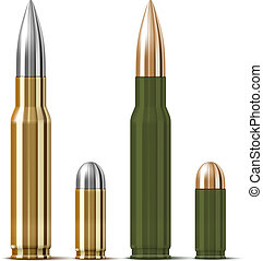 Vector Rifle and pistol bullets isolated on white background