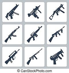 vector, rifles, iconos, máquina, asalto, conjunto, armas de fuego