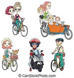 vector, rijden, fiets, set, mensen