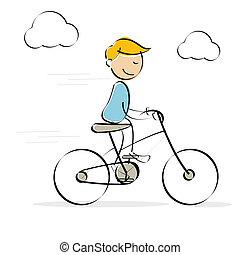 vector, rijden, het genieten van, fiets, geitje
