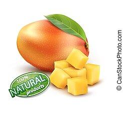 vector, rijp, schijfen, mango, fruit, achtergrond, witte